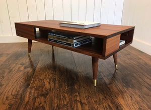 Thin Man solid mahogany coffee table with storage.
