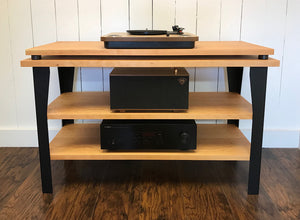 Cherry stereo and turntable console with optional album storage.