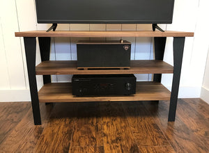 Walnut TV and media console with optional album storage.
