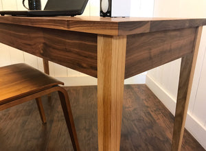 Hepplewhite writing desk, newly crafted solid white oak or solid walnut