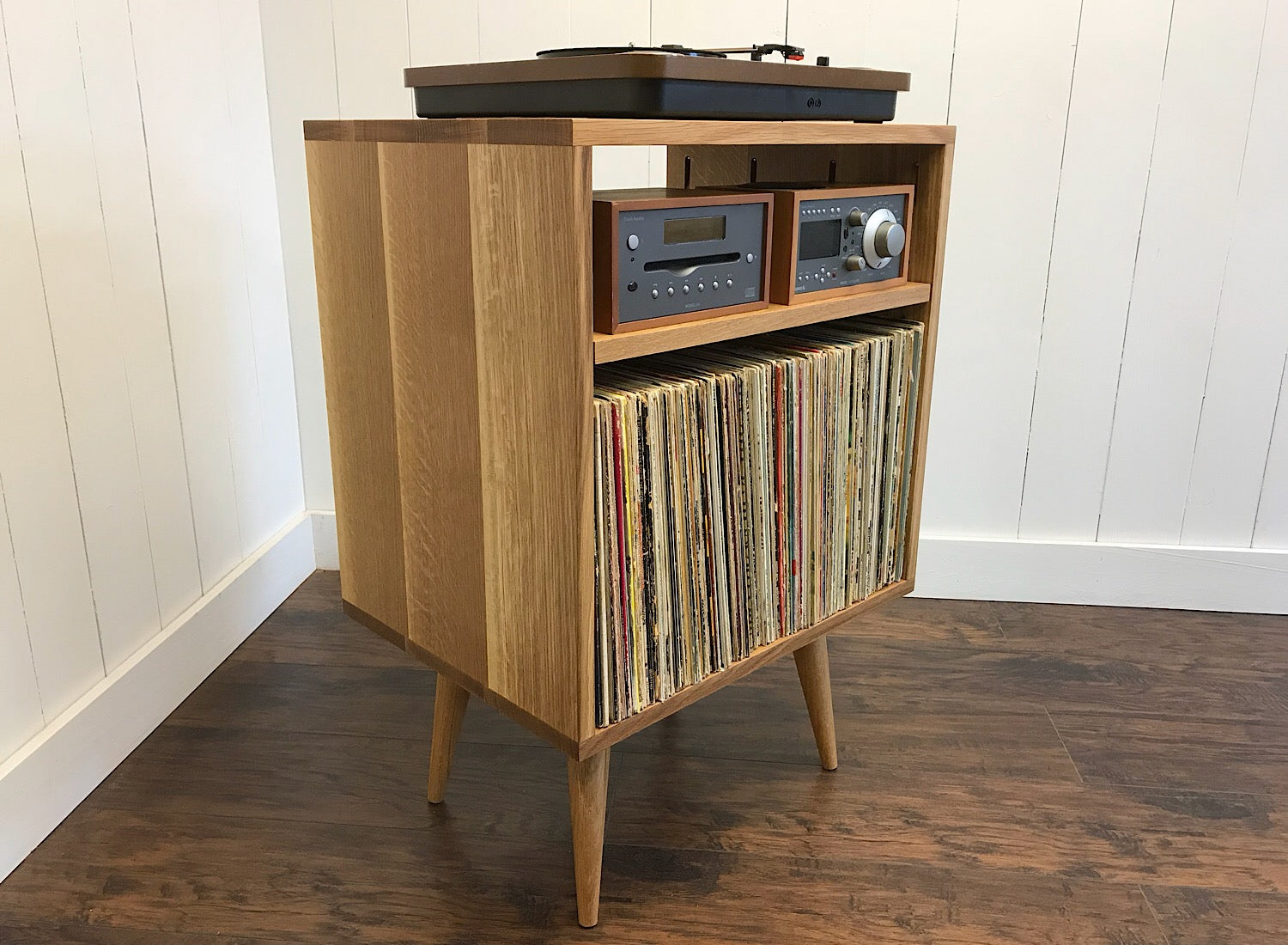 Quartersawn White Oak Vertical Audio Cabinet And Turntable Stand
