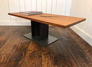 Industrial coffee table, edge-grain mahogany with steel I-beam base.
