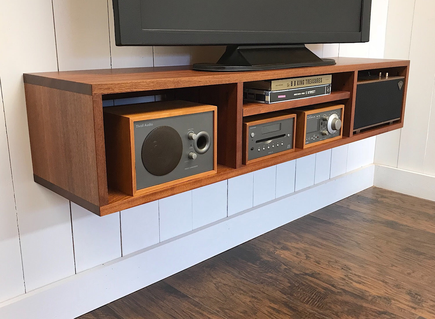 Solid Mahogany Floating Tv And Video Console Wall Mounted Media Cabin Scott Cassin Furniture