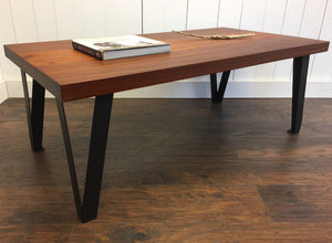 Modern industrial coffee table, solid mahogany with contemporary steel legs