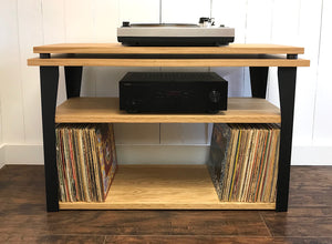 White oak stereo and turntable console with album storage.