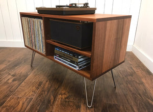 Mid century modern stereo and turntable cabinet with album storage, solid mahogany.