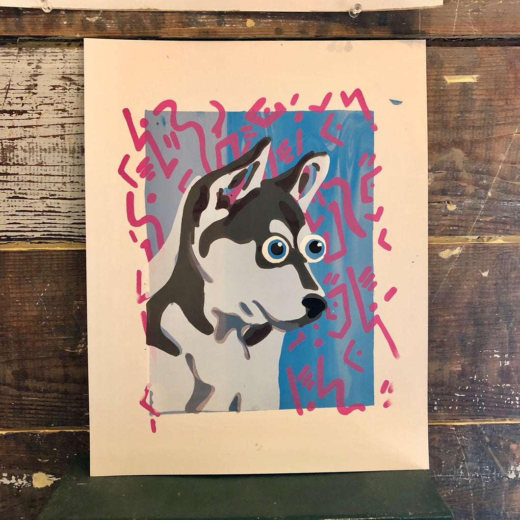 'Just A Little Husky' Screenprint