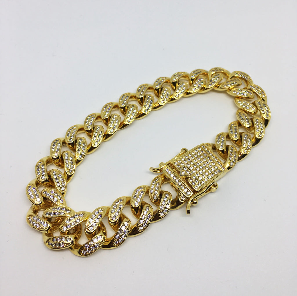 """Cuban Bracelet Gold Full Iced Out"""