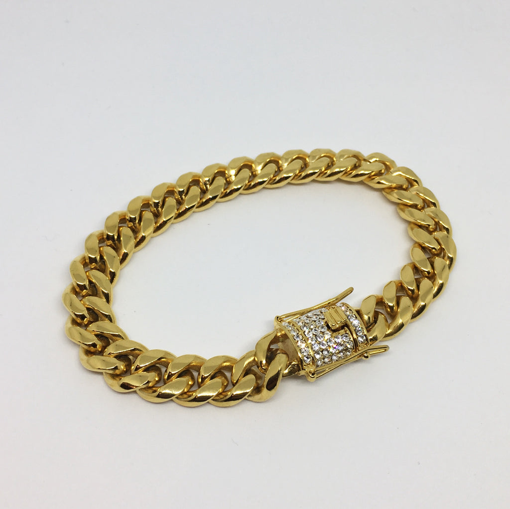 """Cuban Bracelet Gold Fecho Iced Out"""
