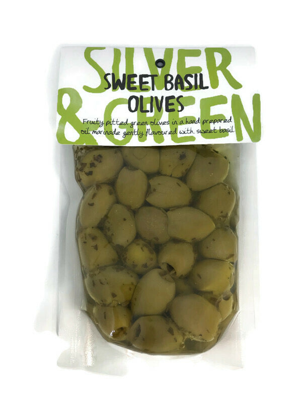 Silver & Green Sweet Basil Olives