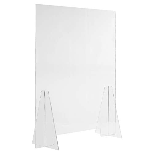 "Sneeze Guard Acrylic Shield Barrier - 24""W x 30""H Durable Plastic Shield for Desktop or Counter. Self Standing Protection for Workplace, Store, Cashier, School, Pharmacy, Restaurant. Countertop Guard"
