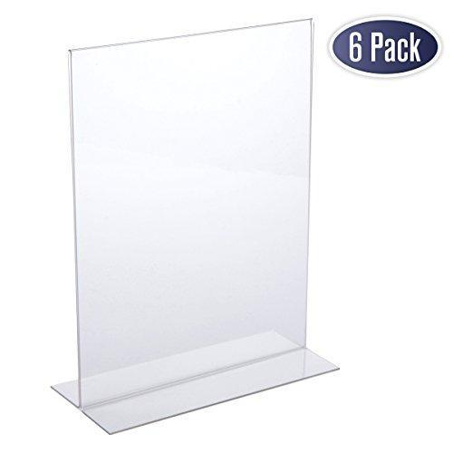 Acrylic Sign Holder 8.5 x 11 - Acrylic T Shape Table Top Display Stand (6 Pack)