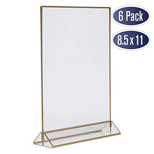 Gold Picture Frames Double Sided - 6 Pack - 8.5x11 Acrylic Gold Table Number Holders, Clear Easel Table Stands for Signs, Gold Frames for Wedding Table Numbers, Menu Holder, Photo Frame