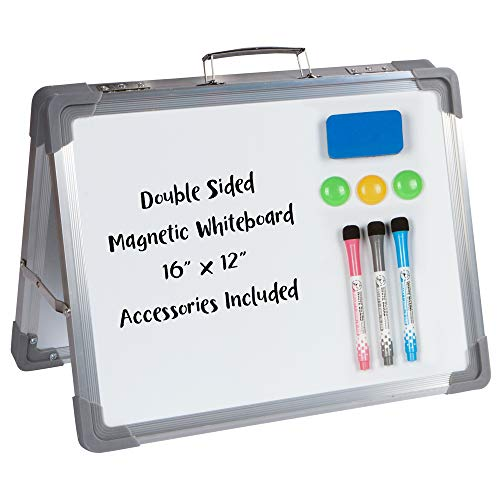 "Desktop Dry Erase Magnetic Whiteboard - 16"" x 12"" Double Sided Small White Board Easel, Foldable Whiteboard Comes with Magnetic Eraser, 3 Magnets, 3 Dry Erase Markers for Kids, School, Work, and Home."
