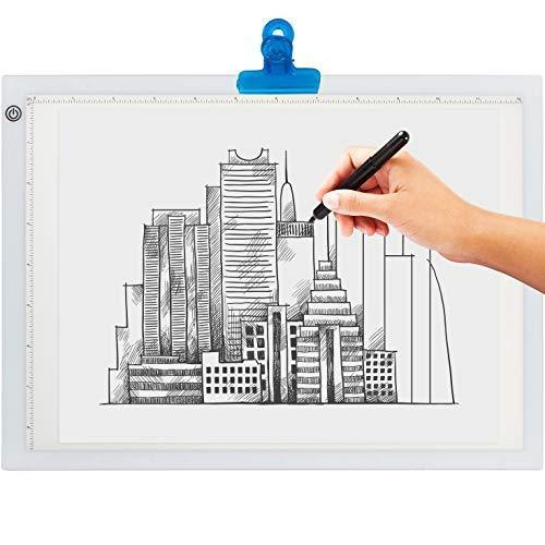 LED Light Box for Tracing - Ultra Thin Light Pad with Adjustable Brightness. Comes with USB Cable, Adapter, Tracing Paper, and Clip. Portable Light Board for Sketching (Standard Size - A4)