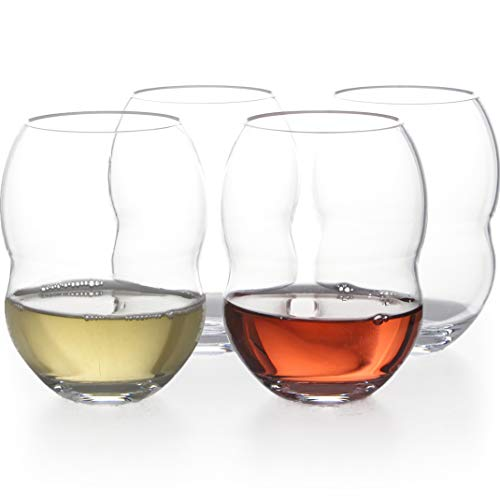 Unbreakable Plastic Stemless Wine Glasses 18 oz - 100% Tritan - Proprietary Anti Slip Design - BPA Free, Dishwasher Safe, Shatterproof - Heavy Duty Base and Extra Thick Glassware Tumblers - Set of 4