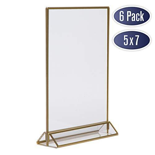 Gold Picture Frames Double Sided - 6 Pack - 5x7 Acrylic Gold Table Number Holders, Clear Easel Table Stands for Signs, Gold Frames for Wedding Table Numbers, Menu Holder, Photo Frame