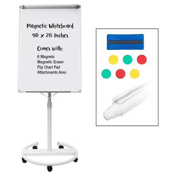 Magnetic Mobile Dry Erase Board - 40x28 Inches Whiteboard, Height Adjustable Flip Chart Easel with Marker Tray (Large)