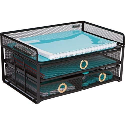 Desk Organizer Tray with Sliding Drawers - File Organizer Desktop in Black Metal Mesh for Storing Office Supplies, Pens, Pencils, Staplers, Files, Bills. Office Desk Organizer for Home or Business