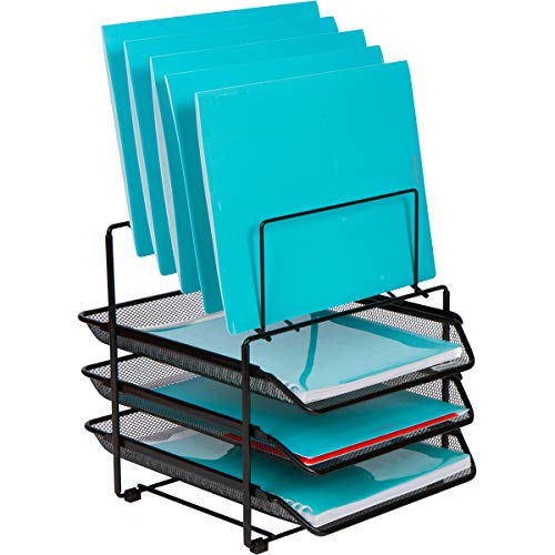 Mesh Desk Organizer and Storage - Office Organizer with 3 Sliding Letter Trays and 5 Vertical File Holders, File Rack for Binders, Folders, Clipboards. Steel Mesh Letter Trays for Desk Organization