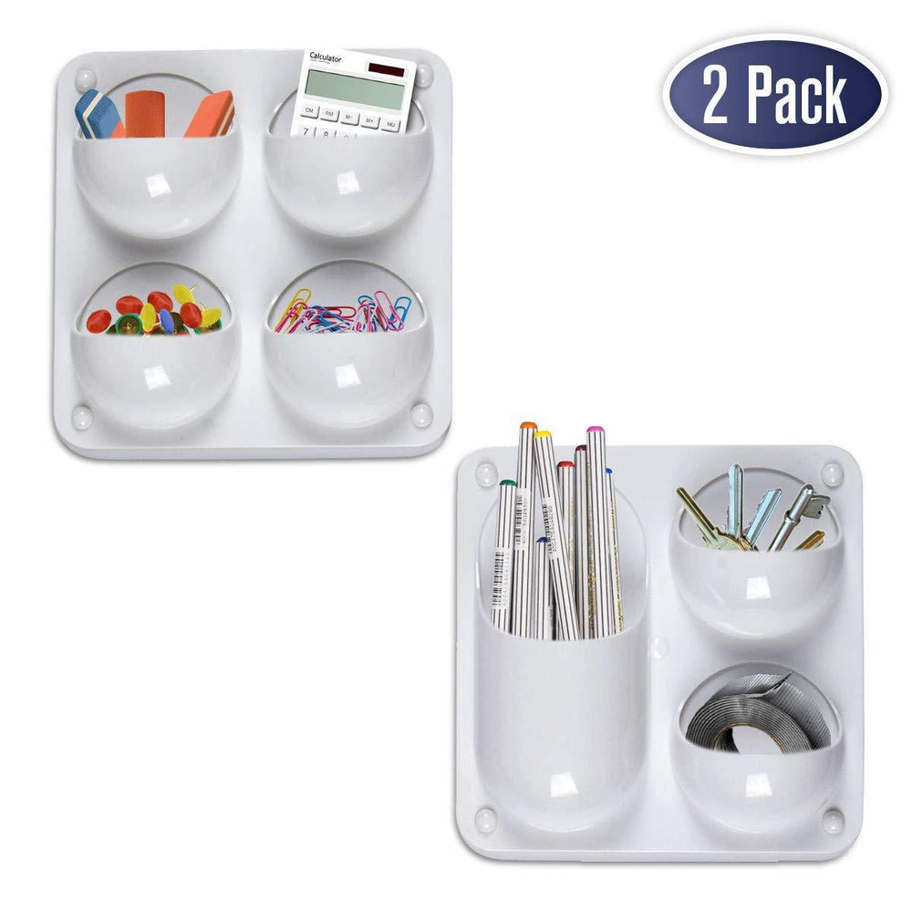 Wall Storage Magnetic Organizer Caddy - Self Adhesive with Multiple Mounting Options. Store Pens, Pencils, Sticky Notes and Other Supplies for Office, Kitchen, Refrigerator, Locker, Cubicle, and More