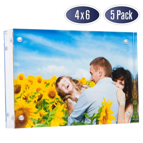 Dasher Products Acrylic Picture Frame 4x6 - Double Sided Magnetic Photo Frame (5 Pack)