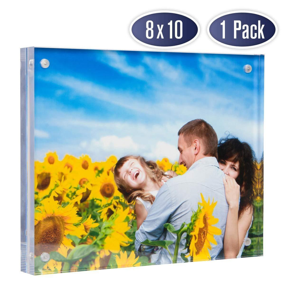Dasher Products Acrylic Picture Frame 8x10 - Double Sided Magnetic Photo Frame (1 Pack)