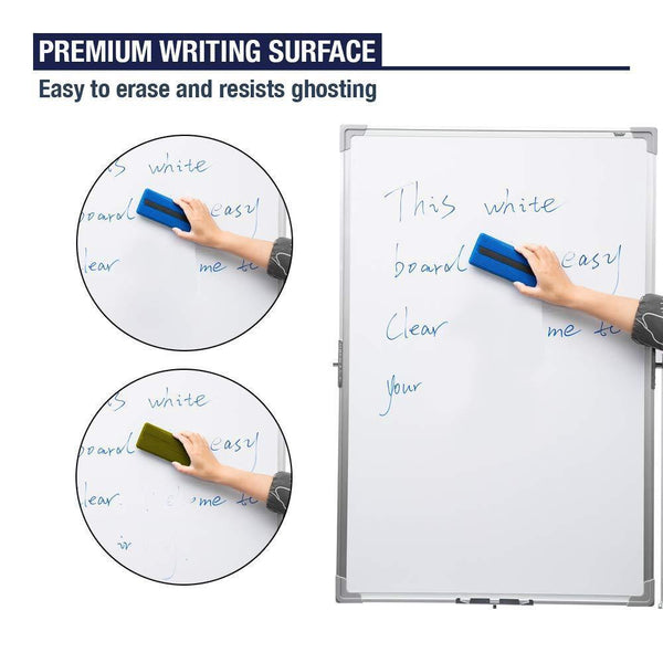 Mobile Dry Erase Magnetic Whiteboard - 36x24 Inches Double Sided White Board with Marker Tray, Stable Base with Locking Wheels, Quick Flip Reversible Easel for Home, Work, Classroom, Presentation