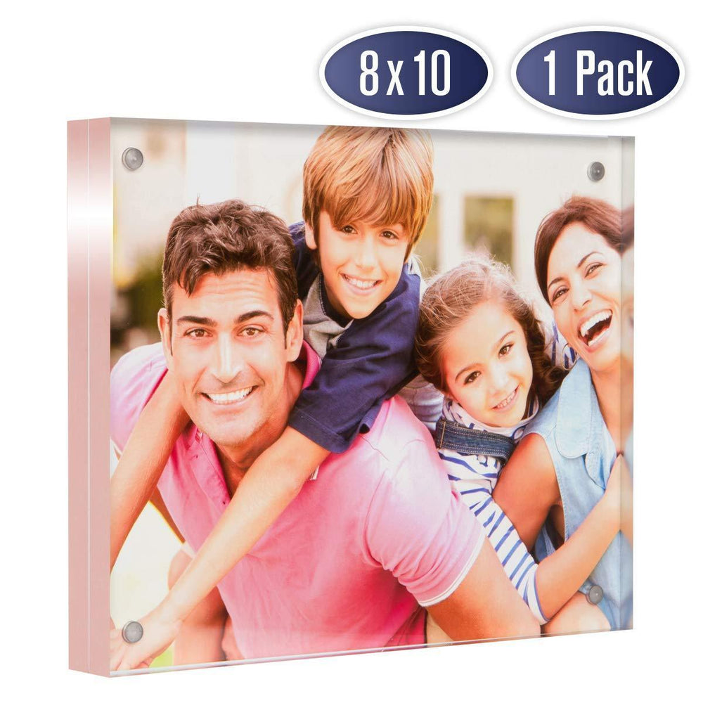 Acrylic Picture Frame 8x10 with Rose Gold Edges (1 Pack)