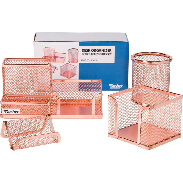 Desk Organizer Office Accessories Set - Set of 4 Rose Gold Desk Accessories