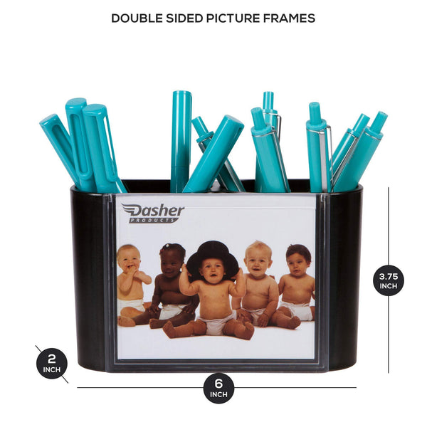 Desk Picture Frames for Office - Pen Holder for Desk in Black, Double Sided Picture Frames for Photos on Front and Back, Unique Desk Organizer for Pens, Pencils, Supplies, and Office Accessories
