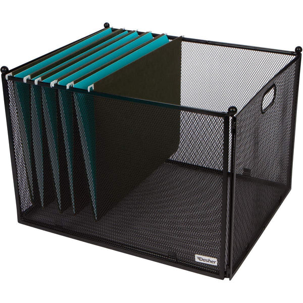 Hanging File Organizer Mesh Box - File Organizer Box Supports Letter Sized and Legal Sized Hanging Folders, Modern Black Metal Mesh Hanging File Crate, Collapsible File Organizer for Home or Office