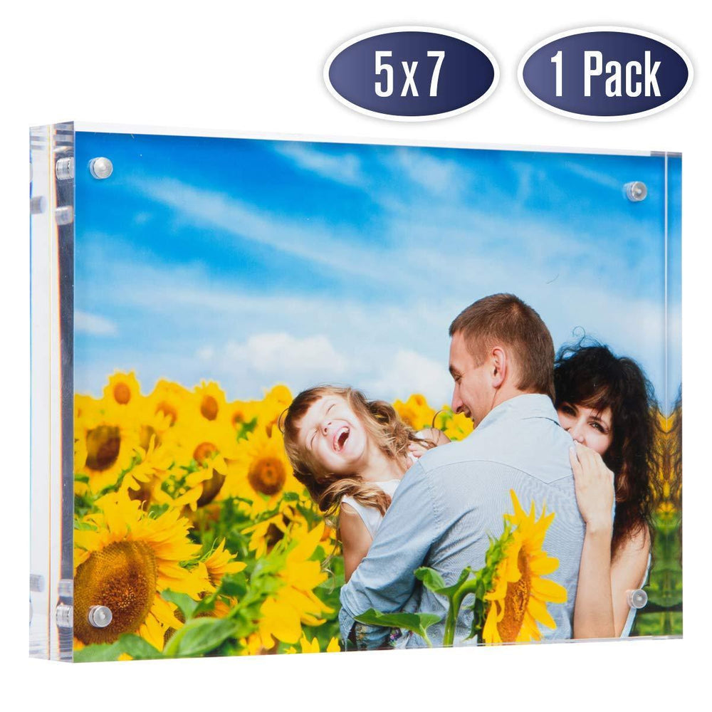 Dasher Products Acrylic Picture Frame 5x7 - Double Sided Magnetic Photo Frame (1 Pack)