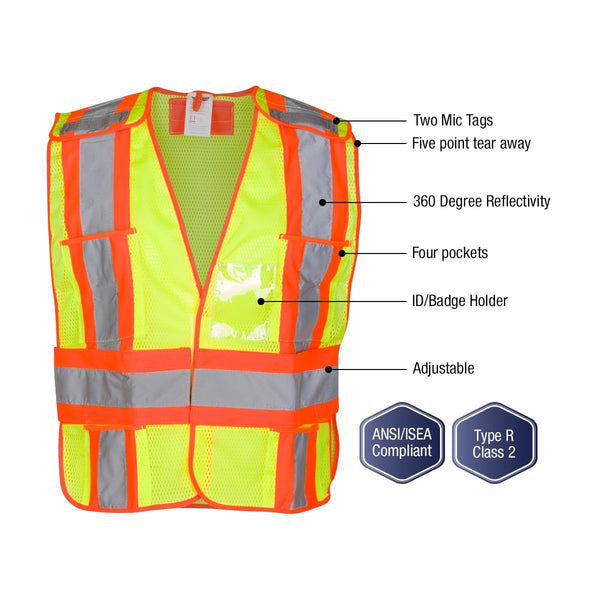High Visibility Safety Vest  ANSI Class 2 Breakaway Vest with 5 Pockets, Yellow with Adjustable Hook and Loop Closure, Hi Vis Breathable Mesh, Heavy Duty Work Wear for Men or Women, 3 Pack (XL/XXL)