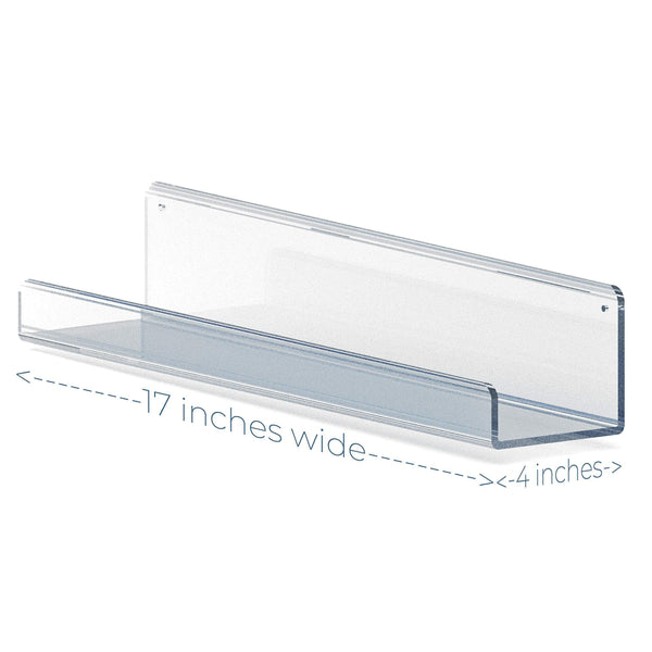 Clear Acrylic Floating Wall Shelves - 17 Inch Wall Bookshelf (2 Pack)