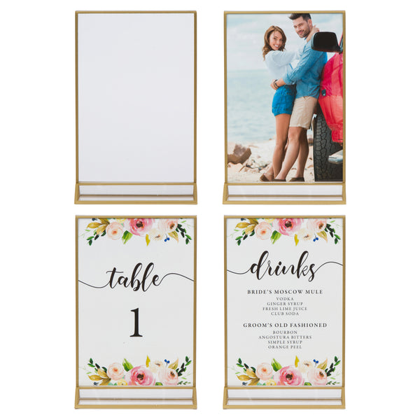 Gold Picture Frames Double Sided - 6 Pack - 4x6 Acrylic Gold Table Number Holders, Clear Easel Table Stands for Signs, Gold Frames for Wedding Table Numbers, Menu Holder, Photo Frame
