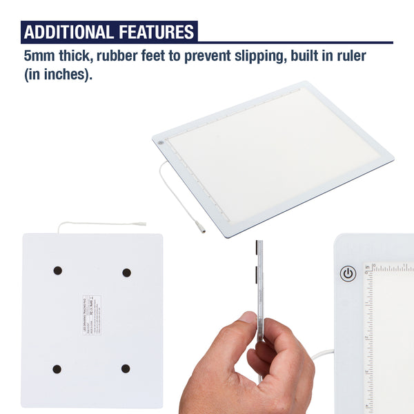 LED Light Box for Tracing - Ultra Thin Light Pad with Adjustable Brightness. Comes with USB Cable, Adapter, Tracing Paper, and Clip. Portable Light Board for Sketching (Large Size - 19