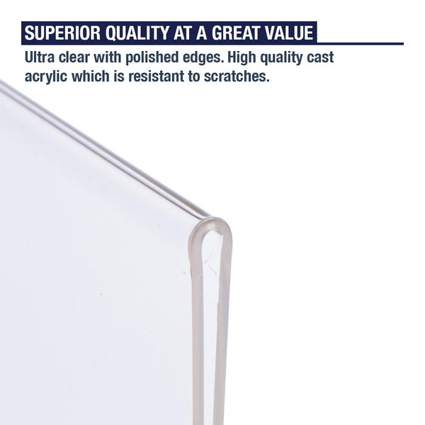 Acrylic Sign Holder with Hook and Loop Adhesive, 8.5 x 11 inches (3 Pack)