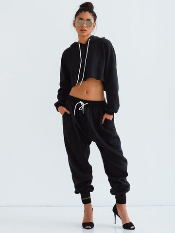 Women Sexy Two Piece Set Tracksuit Cropped Top And Pants - CLEVERFITS