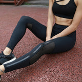 Profession Fitness Leggings Black Sexy Hollow Mesh Patchwork - CLEVERFITS