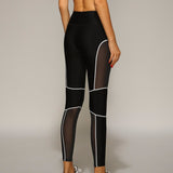 Hot Sales! Black Mesh Splice Sporting Jeggings Breathable - CLEVERFITS
