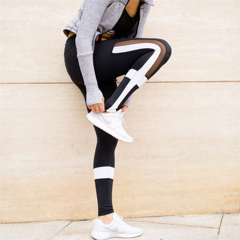 HOT SALE White Patchwork Leggings Tights - CLEVERFITS