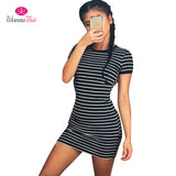 Casual Striped Dress Sexy O-Neck Short Sleeve - CLEVERFITS