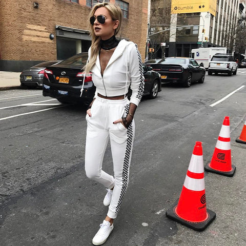 Tracksuit With Hood White Plaid Tops with Pants - CLEVERFITS
