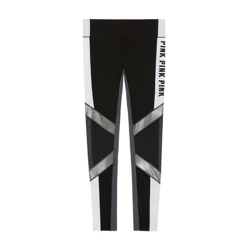 Letters Print Patchwork Women Sporting Tights Leggings - CLEVERFITS