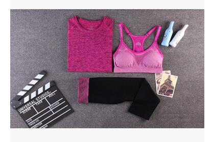 Yoga Sport Suit Bra Set 3 Piece Female Short-sleeved - CLEVERFITS