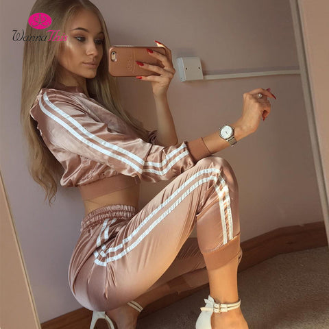 Autumn Winter TRACKSUITS Satin Sets Women Zipper - CLEVERFITS