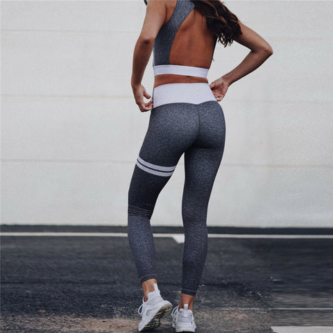 Backless Crop Tank Top High Waist Legging Pants 2 Pcs - CLEVERFITS