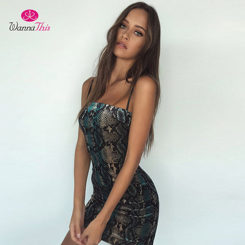 Snakeskin Bodycon Dress Women Sexy Python - CLEVERFITS
