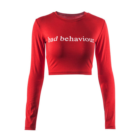 Crops Women Tops O-Neck Long Sleeve Short Red - CLEVERFITS